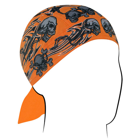 Z669 Flydanna®, Cotton, Orange Tribal Skull