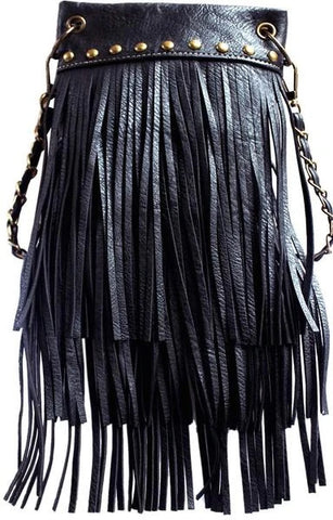 CHIC1000-BLK crossbody handbag - Fringe 3 layer with Antique Copper m