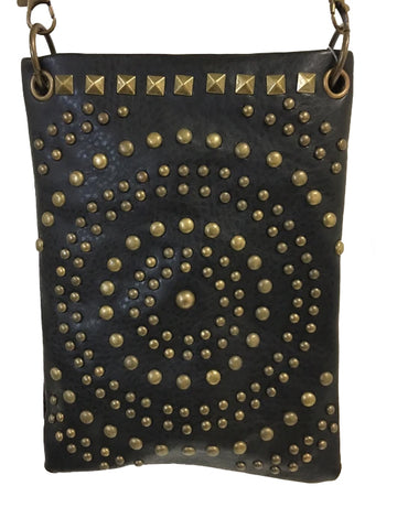 CHIC1001-BLK crossbody handbag - Antique bronze hardware in circle de