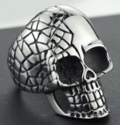 R109 Stainless Steel Cracked Skull Biker Ring