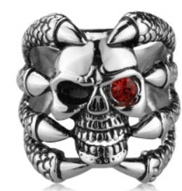 R112 Stainless Steel Claw Face Skull Biker Ring