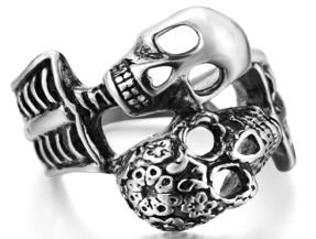 R126 Stainless Steel His And Her Skull Biker Ring