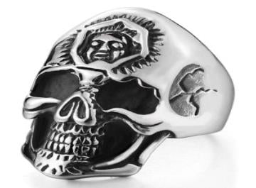 R182 Stainless Steel 3rd Eye Skull Biker Ring