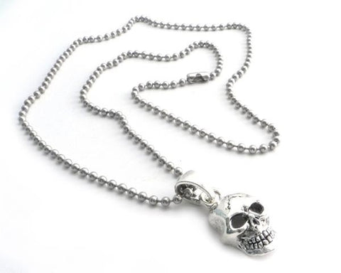 "NSBC-SKXL Skull Pendant on Stainless Steel 30"" shot beed ball chain"