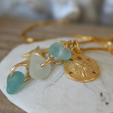 Gold sea glass jewery, sea glass necklace and earrings gold filled