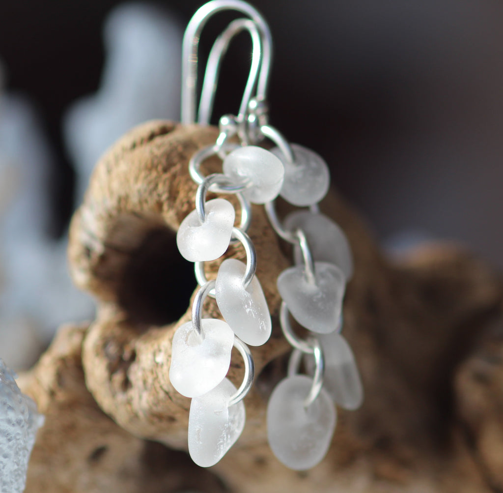 Sea glass earrings, genuine seaglass earrings handmade in Nova Scotia