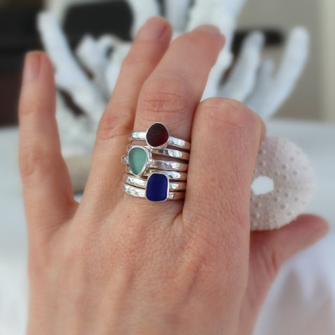 Sea glass rings, custom sea glass jewelry, stacking rings