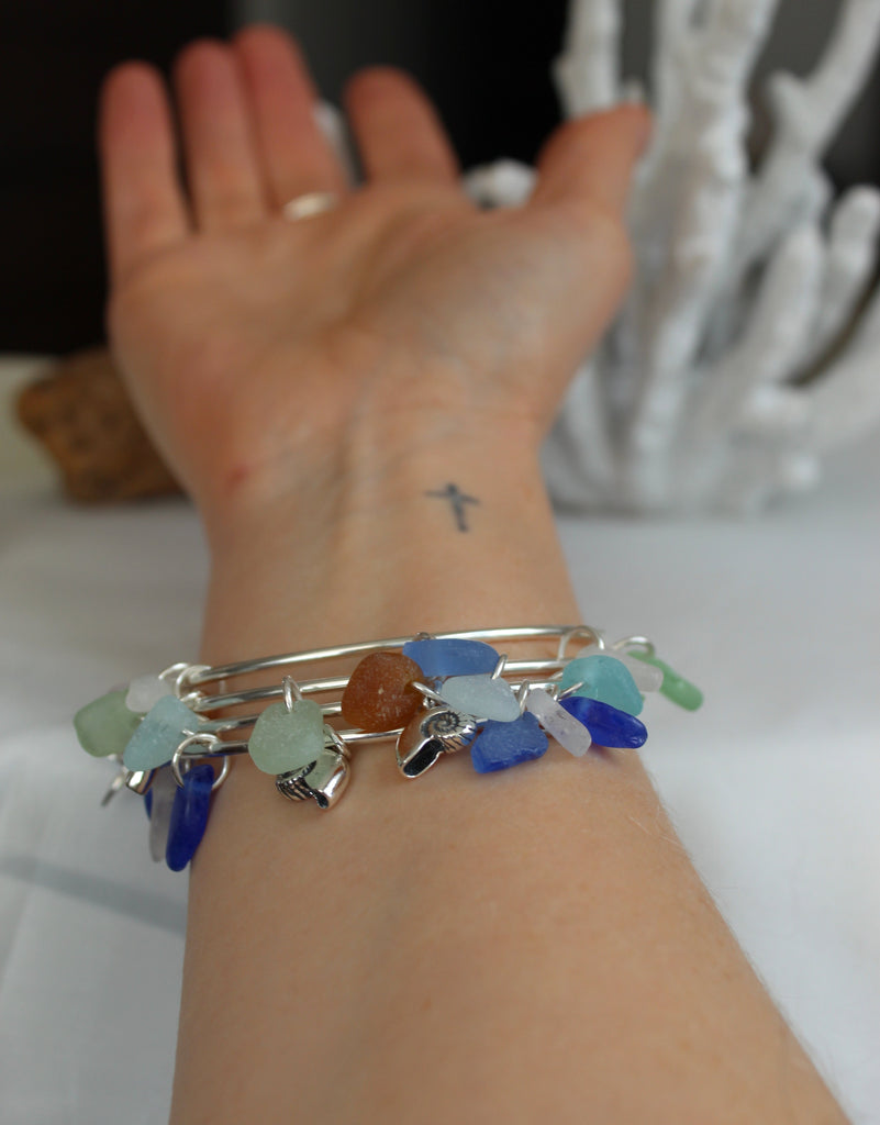 Sea glass bracelets, sea glass jewelry hand made in Nova Scotia