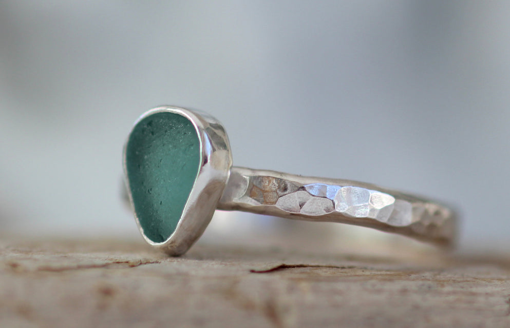 Sea glass ring hand crafted in sterling silver
