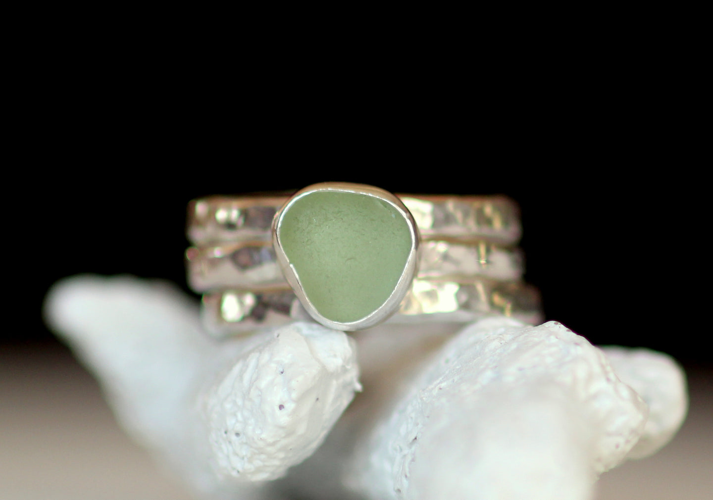 Sea glass stacking rings- custom sea glass rings by Sea Glass Designs