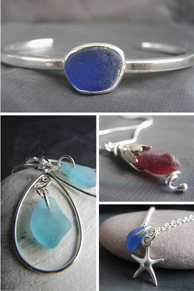 Sea glass jewelry designs handmade in Nova Scotia