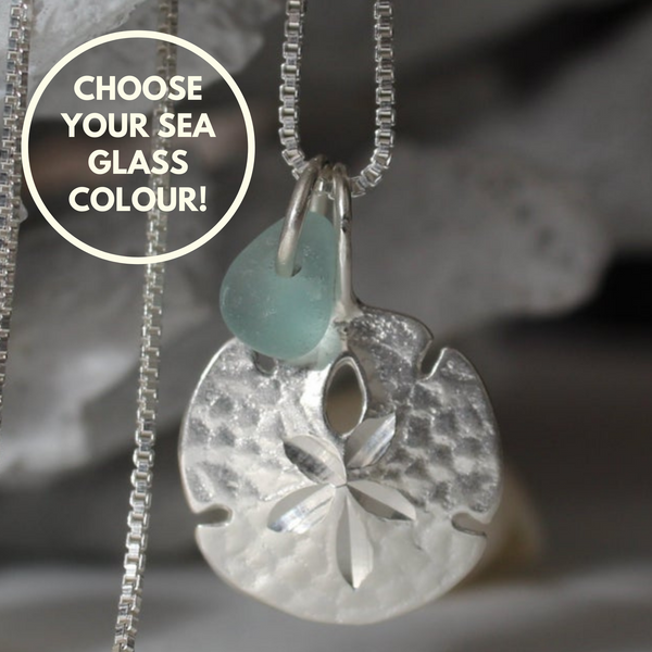 Sand Dollar sea glass in your choice of seaglass colour in sterling silver