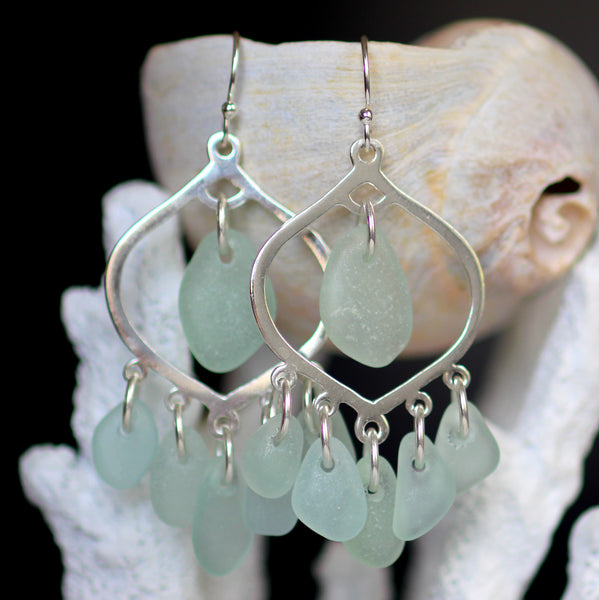 Diviner chandelier sea glass earrings by Sea Glass Designs