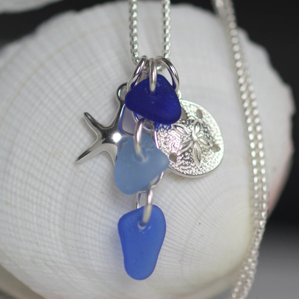 Ocean cluster sea glass necklace in blue, a little bit of the beach for you to wear!