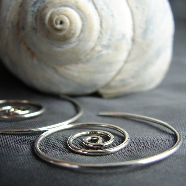 Spiral earrings, sterling silver earrings, hoop earrings, silver hoops, spiral hoops, everyday earrings, wind in earrings, nautilus