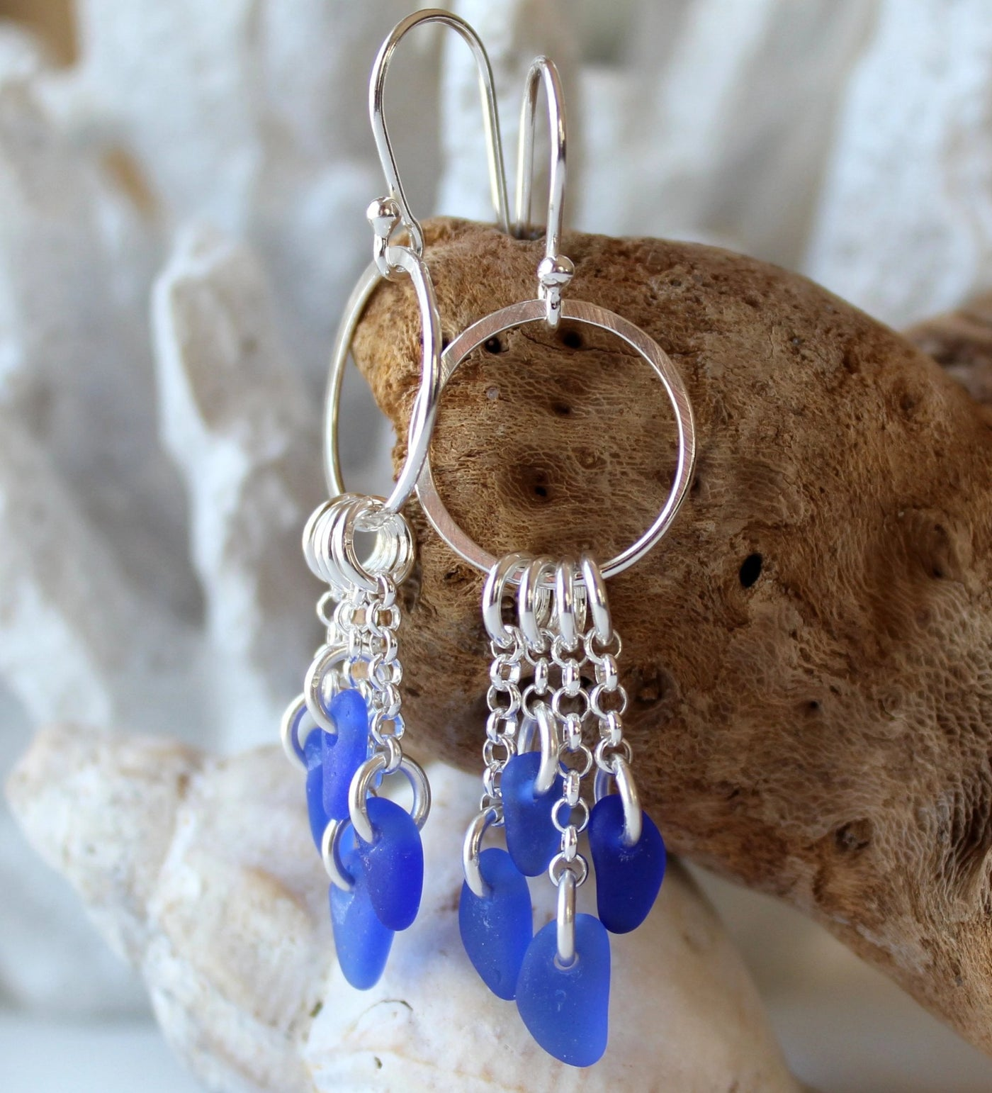 Sea glass earrings, cobalt blue earrings, sea glass jewelry, gift for wife, beachy earrings, seaglass earrings, halifax,  boho earrings