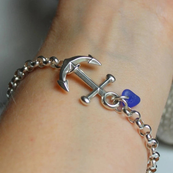 Anchor Bracelet, sea glass bracelet, seaglass jewelry, best friend gift, sailor bracelet, nova scotia , sea glass charm bracelet