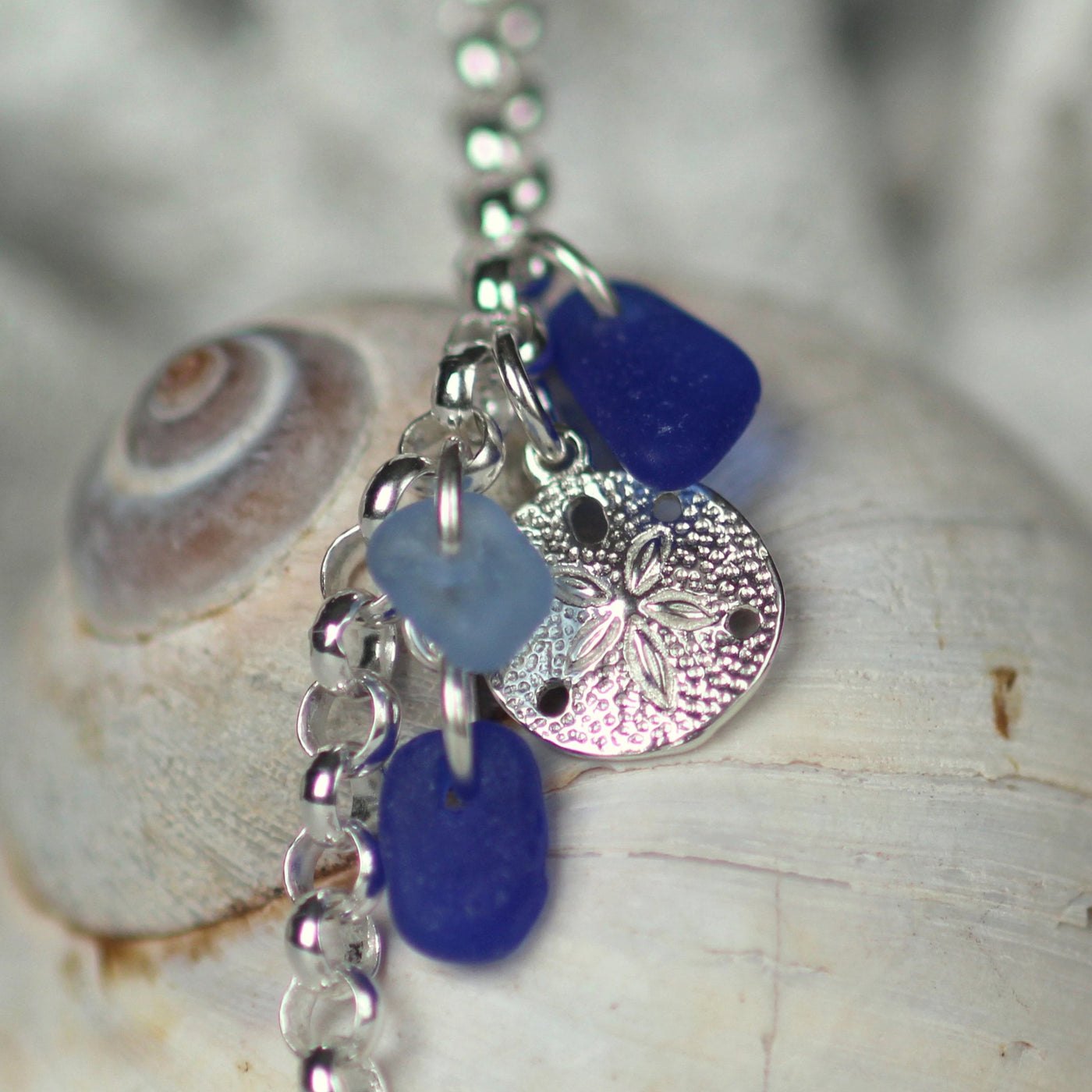 Sea Glass Bracelet, mom gift,  sand dollar bracelet, sea glass jewelry, graduation gift for her, nova scotia, cobalt blue bracelet