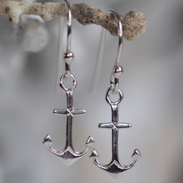 Sterling Silver Anchor earrings, best friend gift,  maritime jewelry, dainty silver earrings, bridesmaid gift, nautical earrings, sailor
