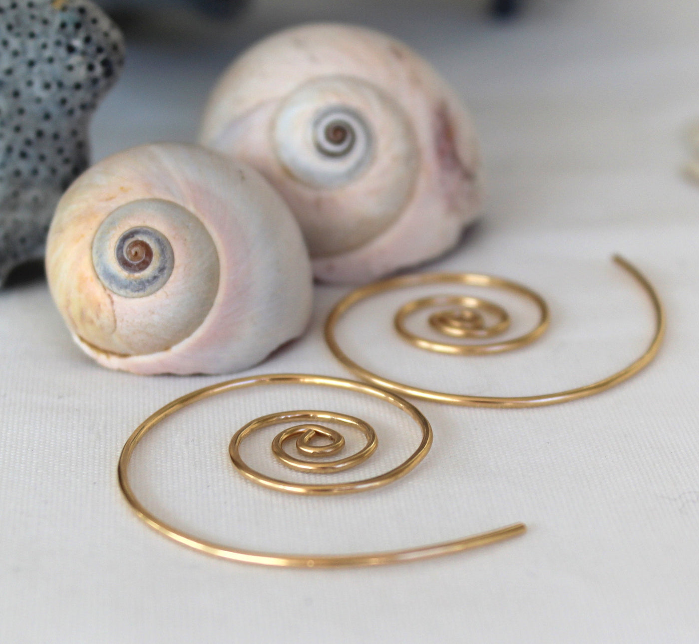 Nautilus gold filled wind in earrings, made in Nova Scotia, Canada., lovely everyday earrrings.