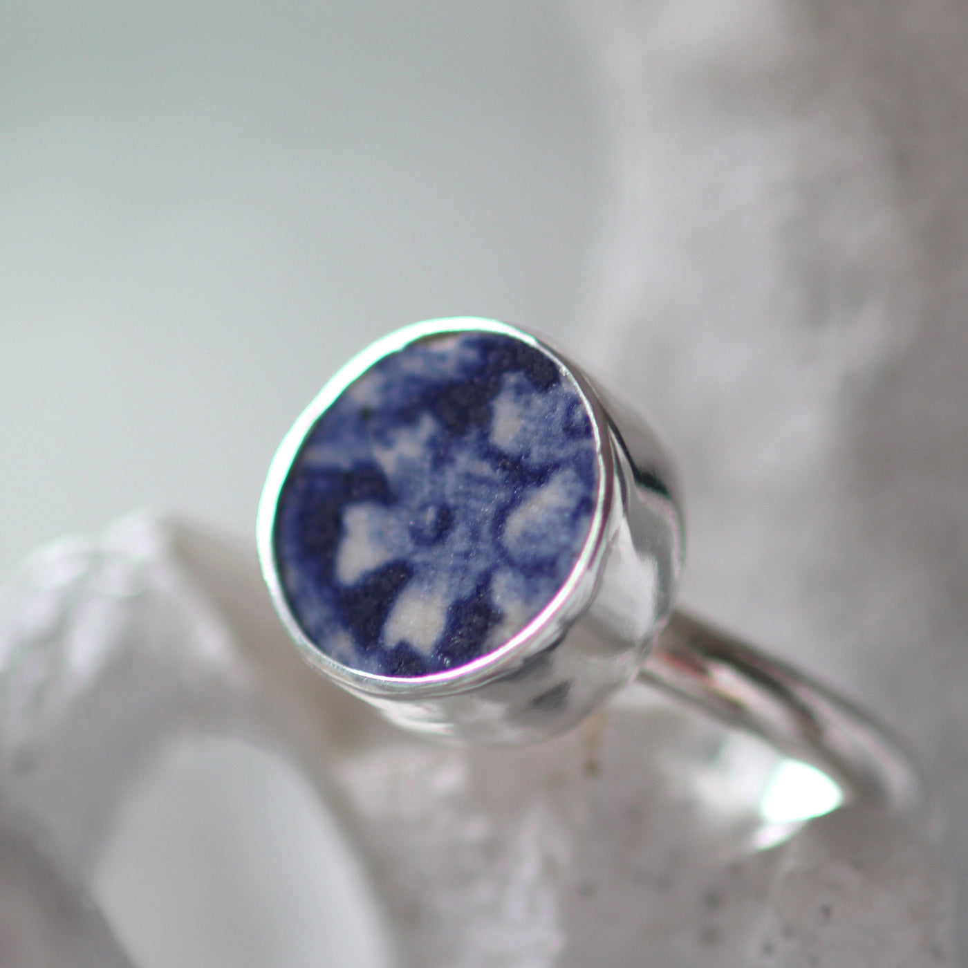 Sea Pottery Ring, ceramic ring, sea glass jewelry,eco ring, nova scotia, sea pottery, sea glass ring, size seven 7, one of a kind ring