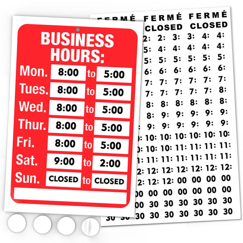 Business Hours Sign Decal, Business Hours Signage