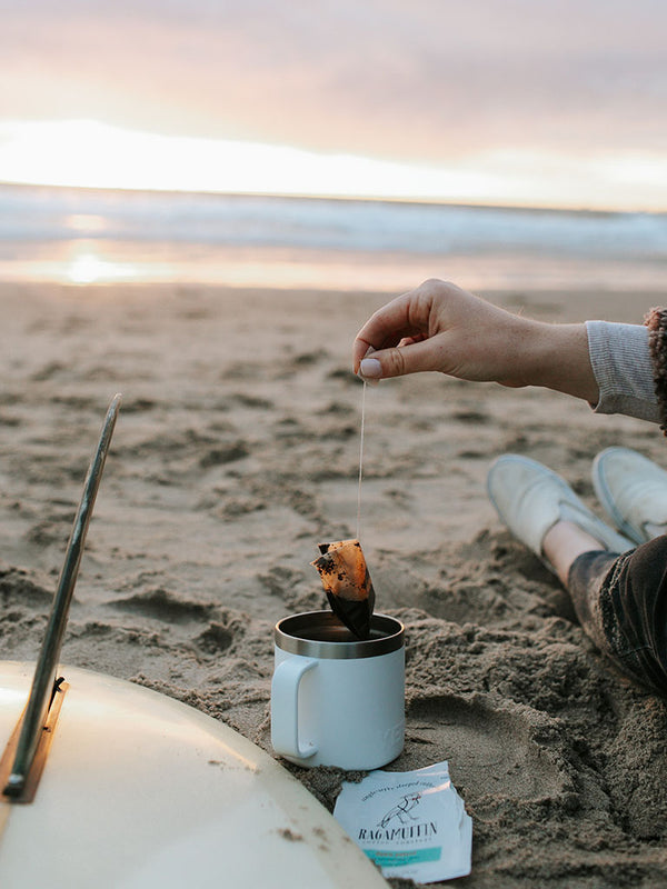 Brewing a cup of Ragamuffin Coffee Roasters Steeped Coffee Dawn Patrol on the beach at sunrise in Ventura County, CA.