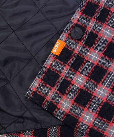 Aramid Lined Flannel Shacket- Black/Red