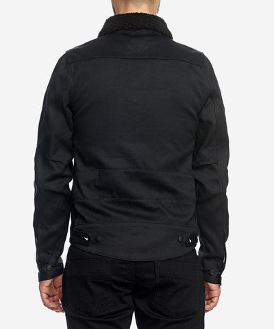 Unbreakable Jacket with detachable black shearling collar - Black