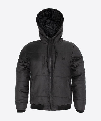 Hooded Bomber Jacket - Black