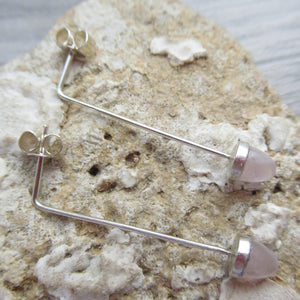 rose quartz acorn earrings
