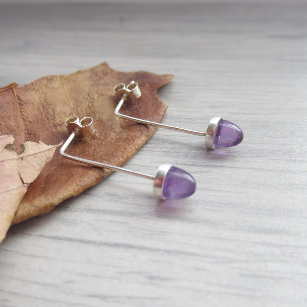 purple fluorite acorn earrings