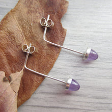Load image into Gallery viewer, purple fluorite acorn earrings