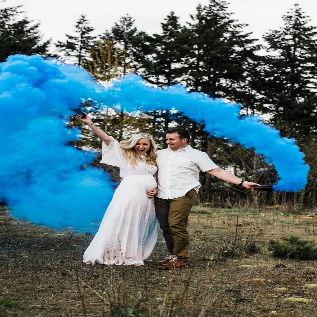 Blue smoke for gender reveal - Utah Sparklers