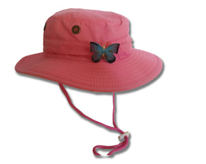 Bucket Hat with Snap-On Butterfly - Pink