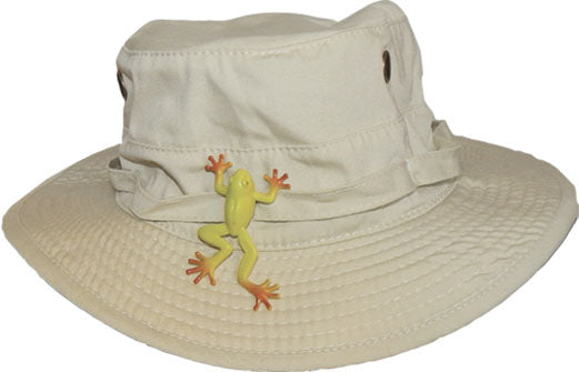 Bucket Hat with Snap-On Frog - Khaki