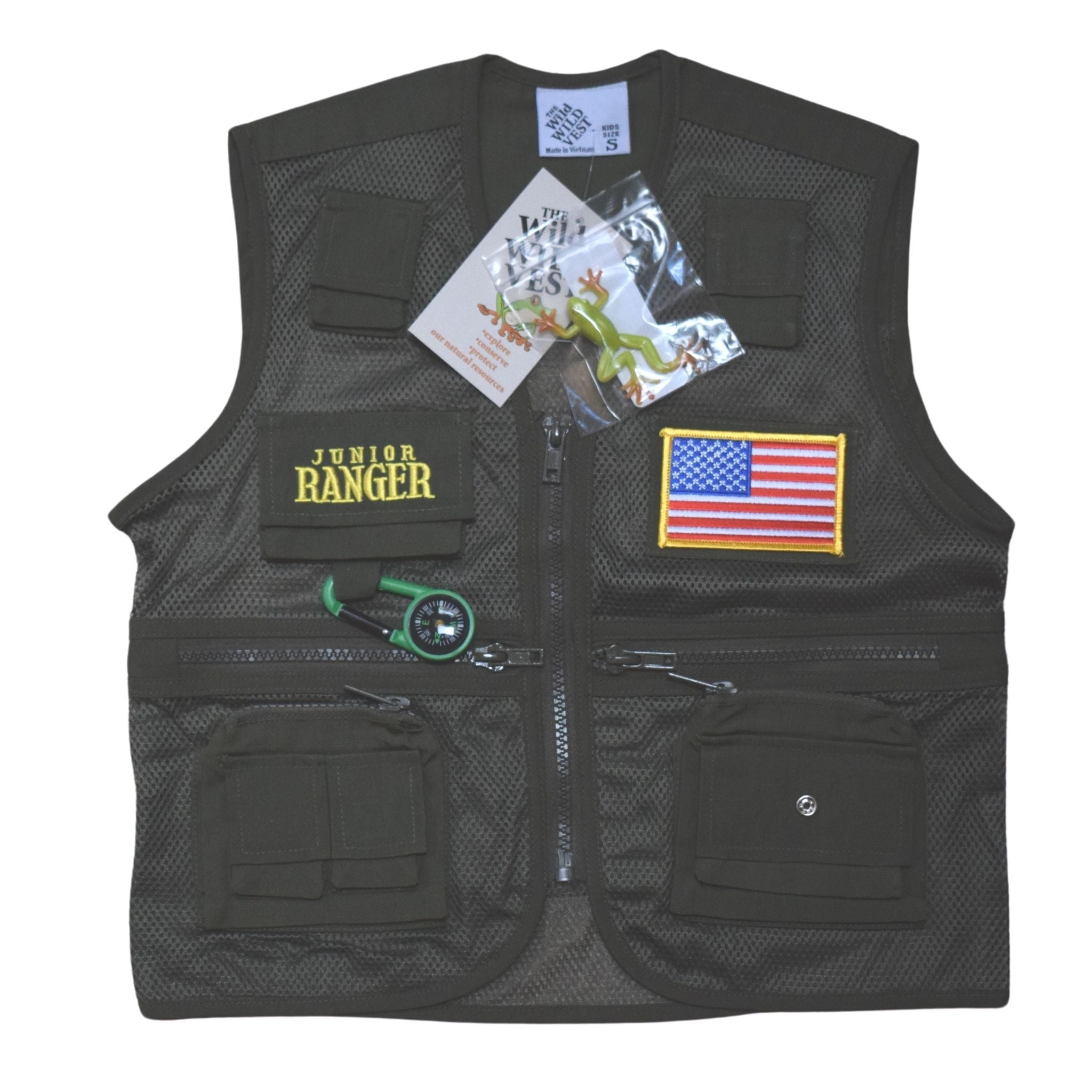 Jr Ranger Vest - Park Ranger Green with American Flag