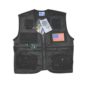 Adventure Vest - Green Camo with American Flag