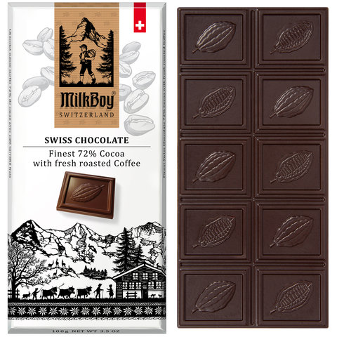 Milkboy Finest Swiss 72% Dark Chocolate with fresh roasted Coffee