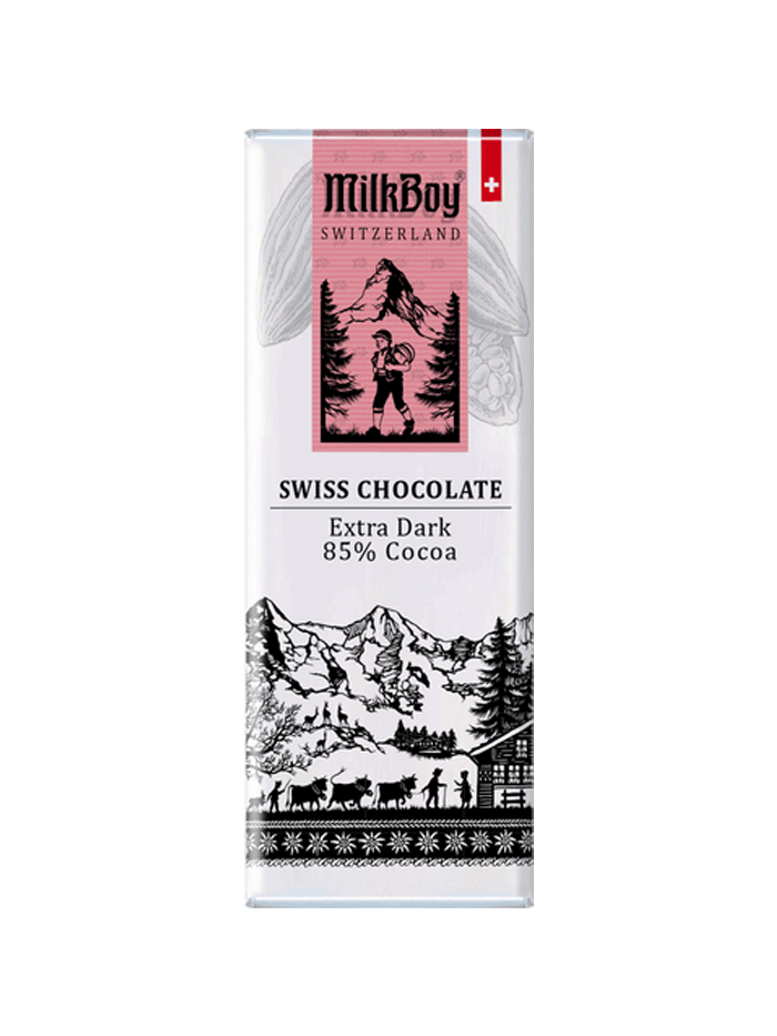 Milkboy Finest Swiss Dark Chocolate Extra Dark 85% Cocoa Snack size bar - 10 Bars