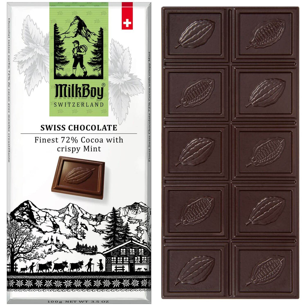 Milkboy Finest Swiss 72% Dark Chocolate with crispy Mint