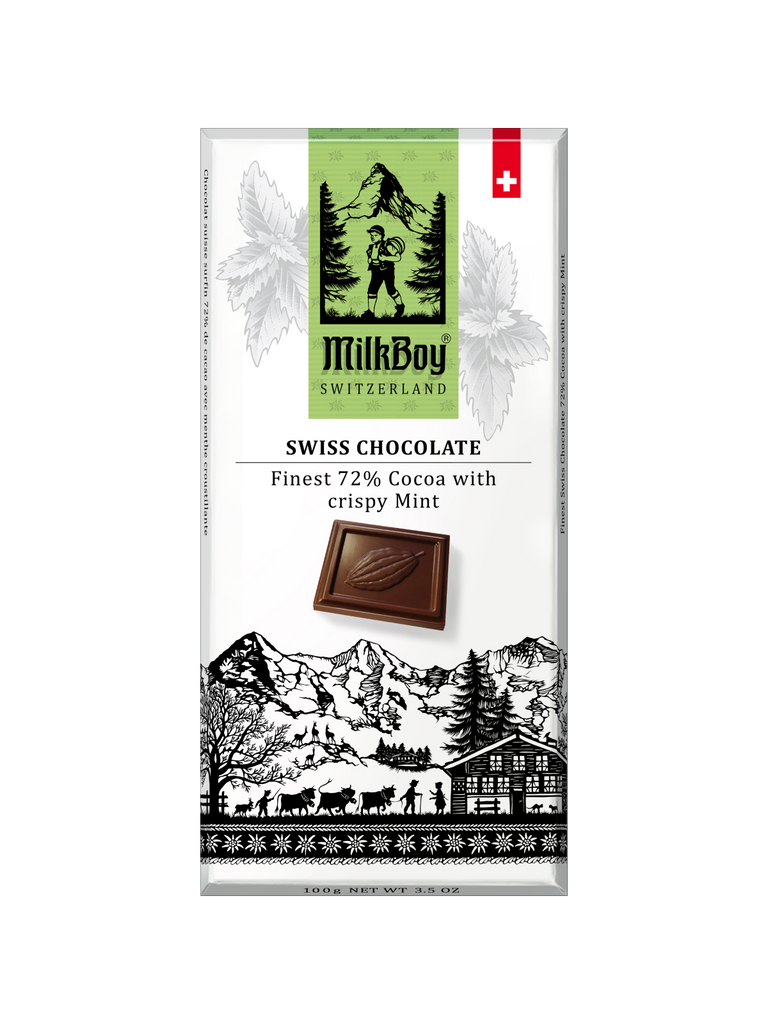 Milkboy Swiss 72% Dark Chocolate with crispy Mint