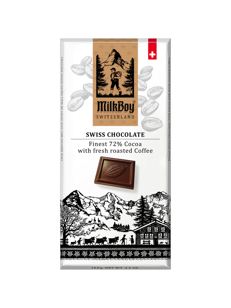 Milkboy Swiss 72% Dark Chocolate with fresh roasted Coffee
