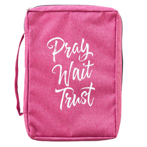 Pray Wait Trust Pink Poly-Canvas Bible Cover