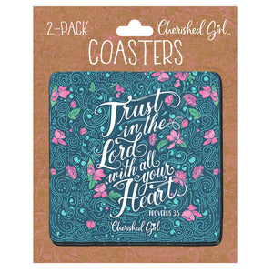 Cherished Girl Christian Drink Coasters Trust in the Lord
