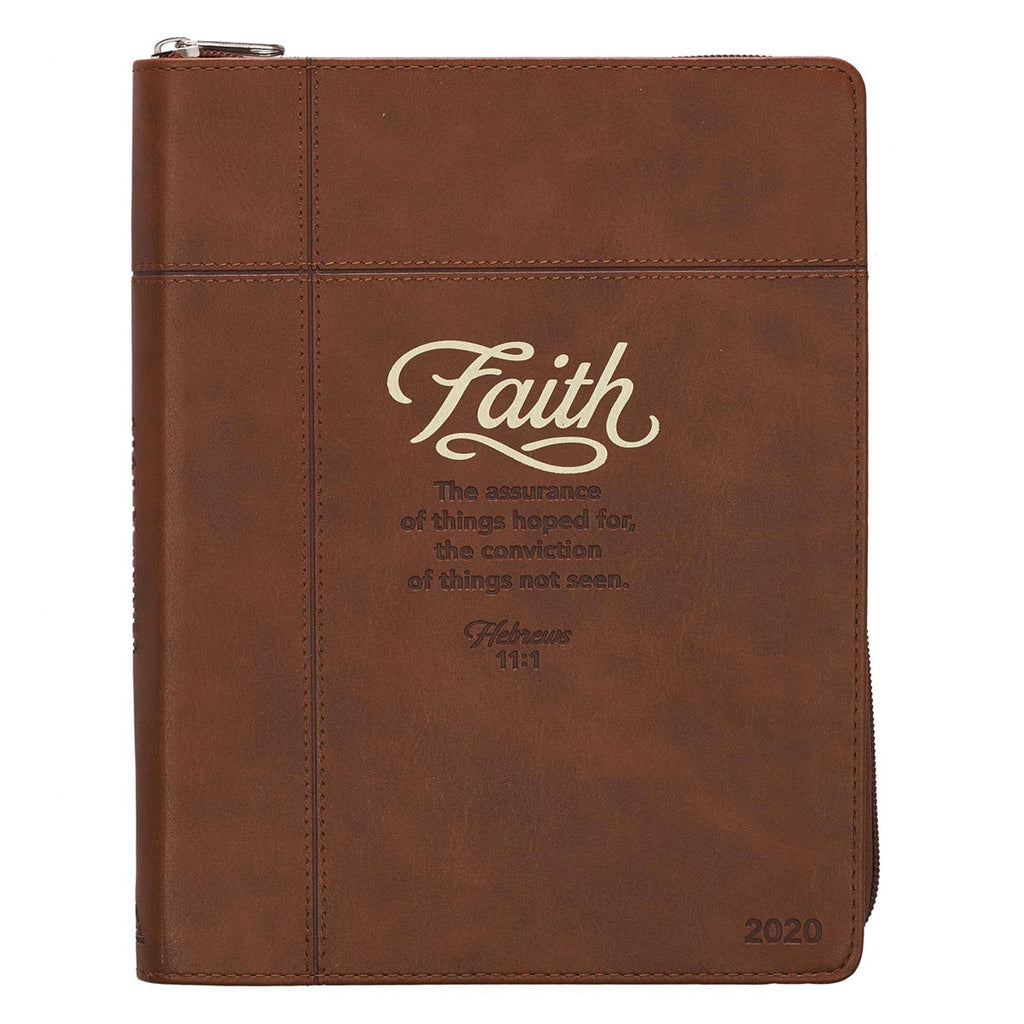 2020 Faith Zippered Faux Leather Daily Planner in Brown - Hebrews 11:1