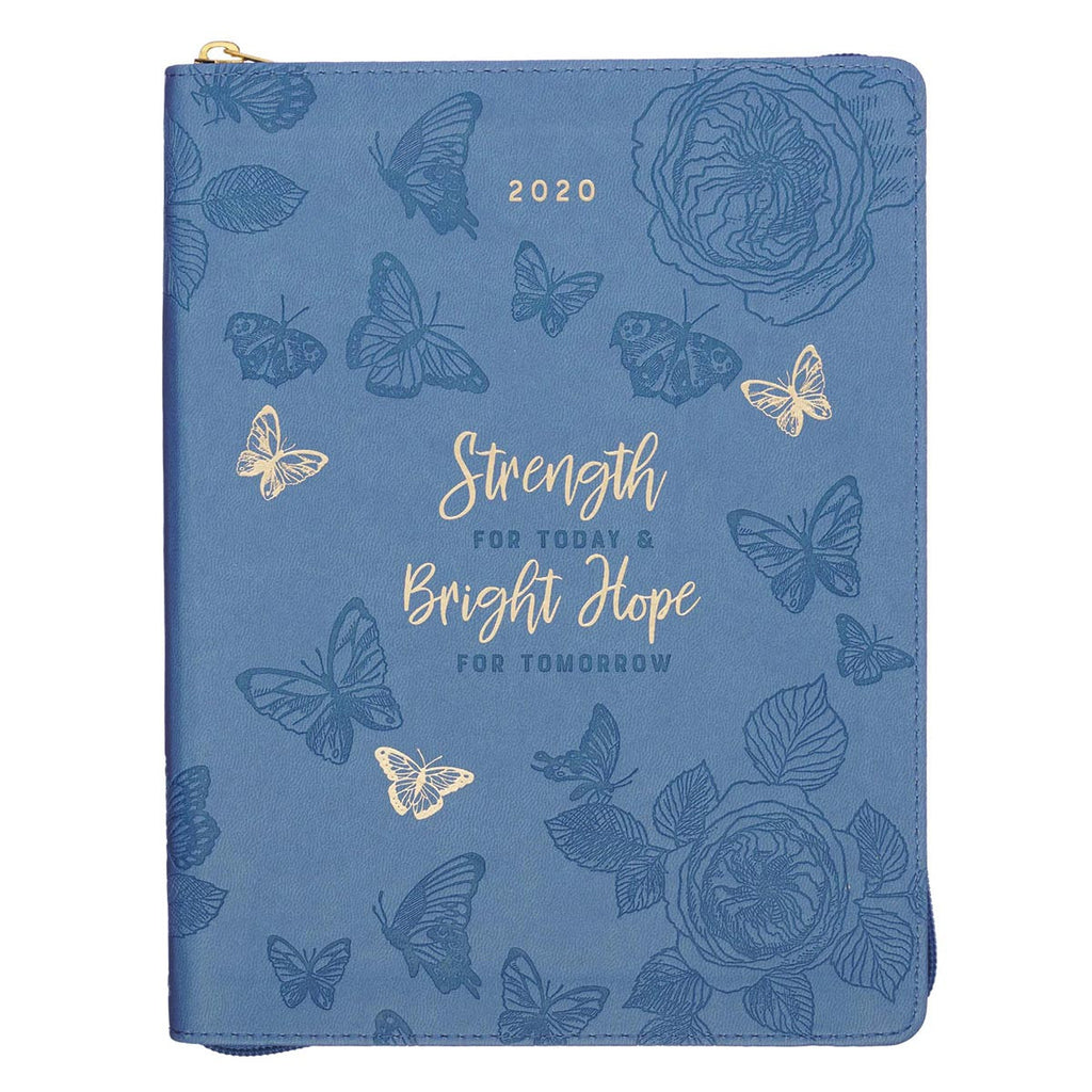 2020 Strength For Today Zippered Faux Leather Daily Planner in Blue