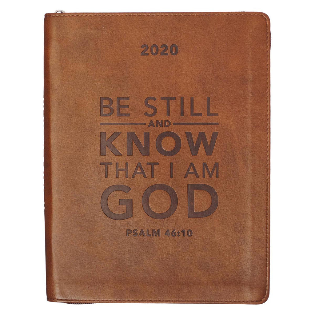 2020 Be Still Zippered Faux Leather Daily Planner in Brown - Psalm 46:10