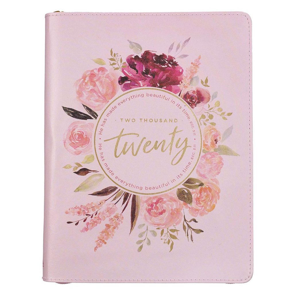Two Thousand Twenty Zippered Floral Faux Leather Daily Planner - Ecclesiastes 3:11