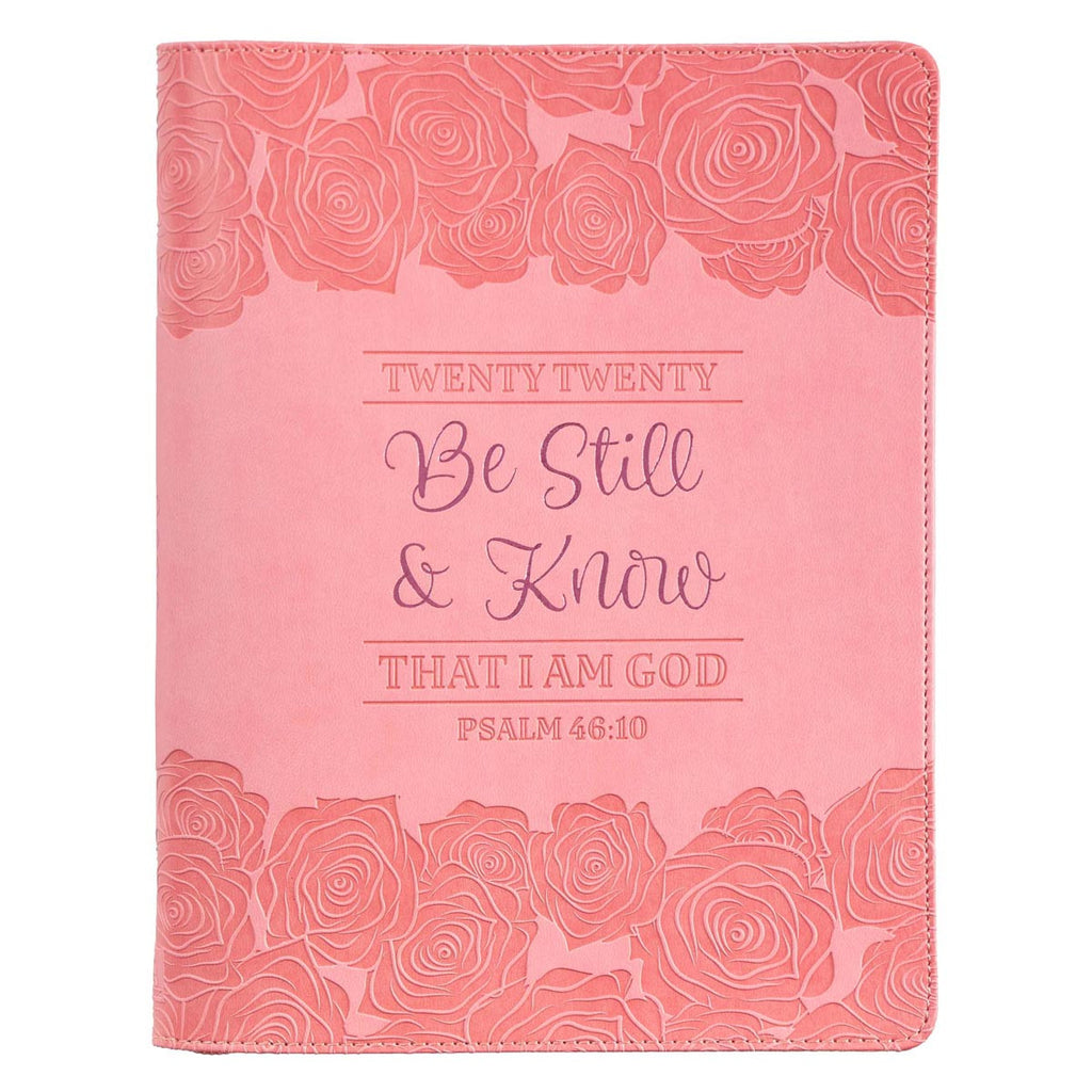 Twenty Twenty Be Still & Know Zippered Faux Leather Daily Planner in Pink - Psalm 46:10